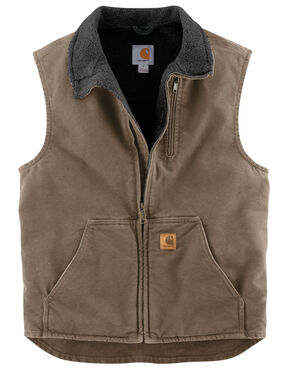 Carhartt Sherpa Lined Sandstone Duck Work Vest - Big & Tall, Lt Brown, hi-res