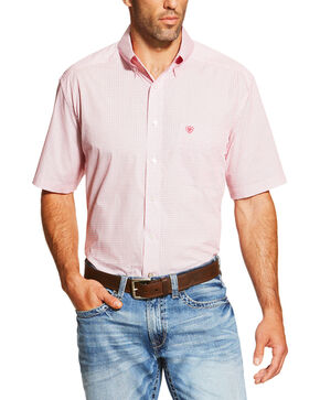 Ariat Men's Rose Red Newman Button-Down Short Sleeve Shirt , Red, hi-res
