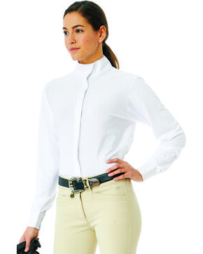 Ovation Women's LDS Long Sleeve Tech Show Shirt, White, hi-res