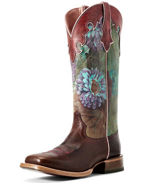 Ariat Women's Ceramic Fonda Western Boots - Wide Square Toe, Brown, hi-res