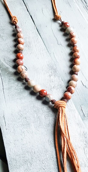 Jewelry Junkie Aqua Terra Beaded Fringe Necklace, Blue, hi-res