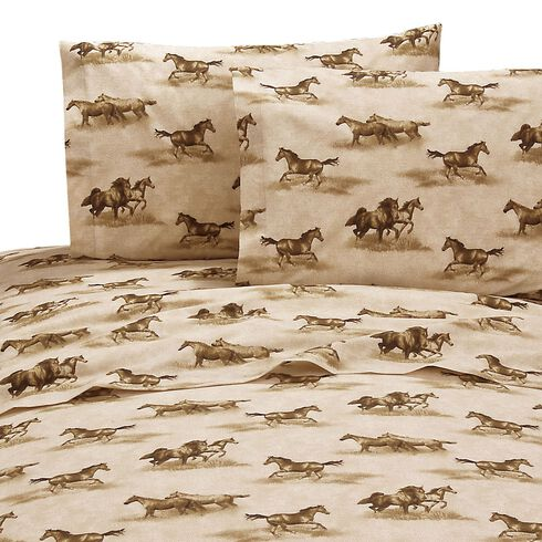 Karin Maki Wild Horses Twin Sheet Set, Brown, hi-res