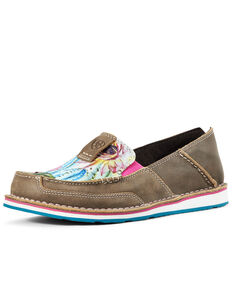 Ariat Women's Floral Cactus Cruiser Shoes - Moc Toe, Brown, hi-res