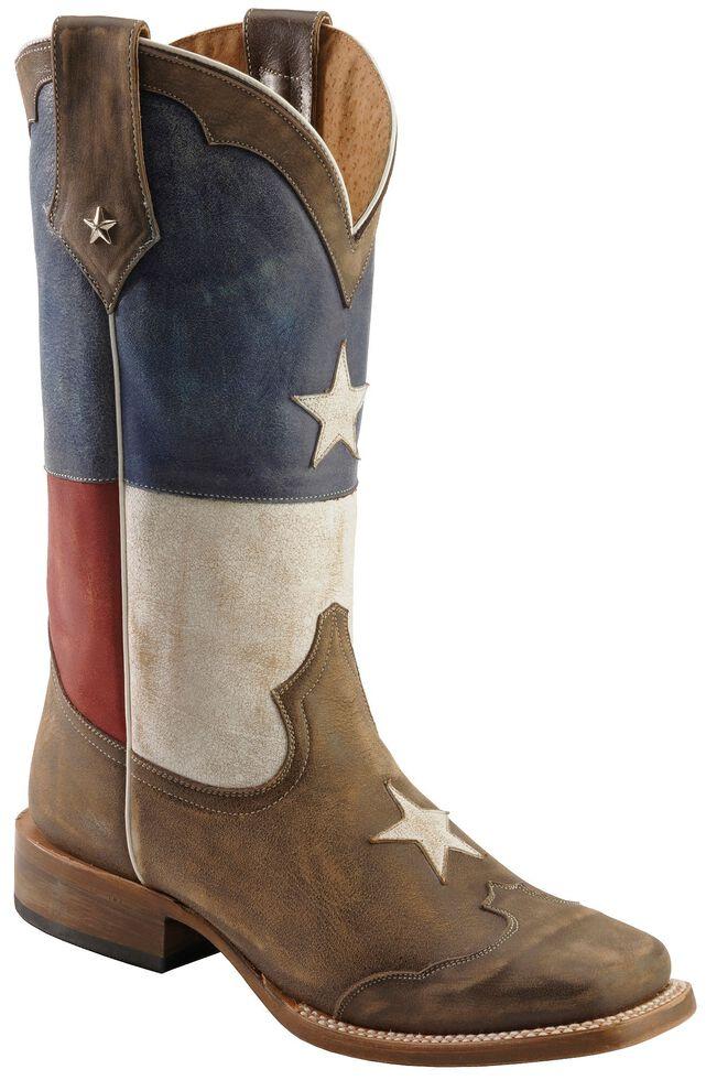 Roper Texas Flag Cowboy Boots - Square Toe, Brown, hi-res