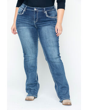 Grace in LA Women's Dark Wash Crystal Edge Boot Cut Jeans - Plus Size , Indigo, hi-res