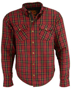 Milwaukee Performance Men's Aramid Reinforced Checkered Flannel Long Sleeve Biker Shirt, Black/red, hi-res