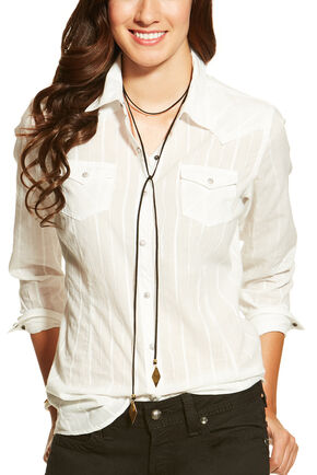 Ariat Women's Roxbury Snap Shirt, White, hi-res