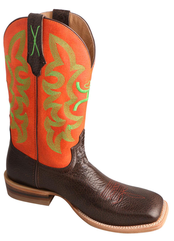 Twisted X Men's Neon Orange Hooey Cowboy Boots - Square Toe , Chocolate, hi-res