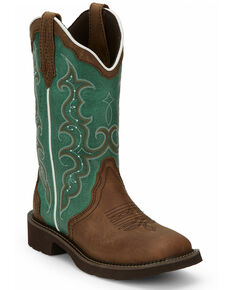 Justin Women's Raya Turquoise Western Boots - Square Toe, Brown, hi-res