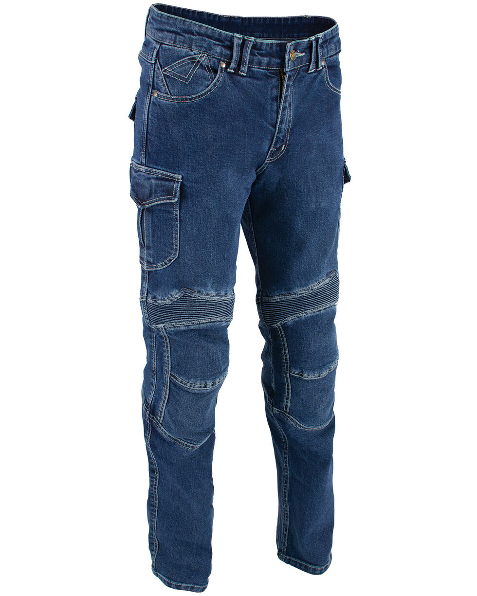 "Milwaukee Leather Men's Blue 32"" Aramid Reinforced Straight Cut Denim Jeans - Big, Blue, hi-res"