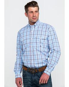 dfe5bf76 Roper Mens Blue Small Plaid Long Sleeve Western Shirt , Blue, hi-res