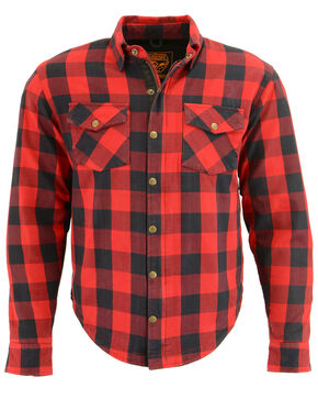Milwaukee Performance Men's Black/Red Aramid Checkered Flannel Biker Shirt - 5X, Black/red, hi-res