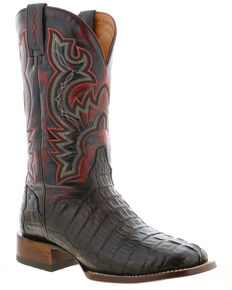 El Dorado Men's Caiman Tail Western Boots - Wide Square Toe, Chocolate, hi-res