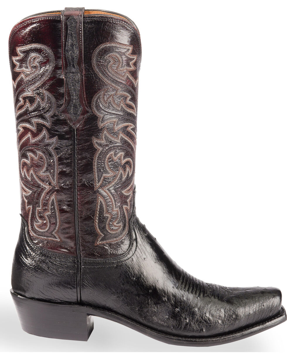 Lucchese Men's Nathan Smooth Ostrich Western Boots - Square Toe , Black, hi-res