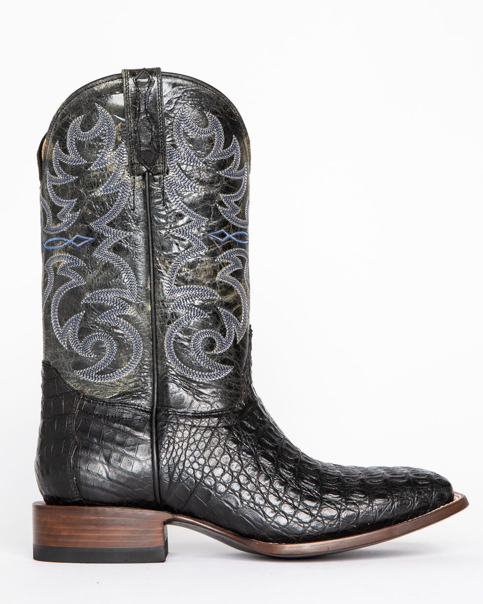 Cody James Men's Caiman Embroidered Exotic Boots - Square Toe , Black, hi-res