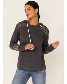 Panhandle Women's Charcoal Aztec Embroidered Pullover Hoodie , Charcoal, hi-res