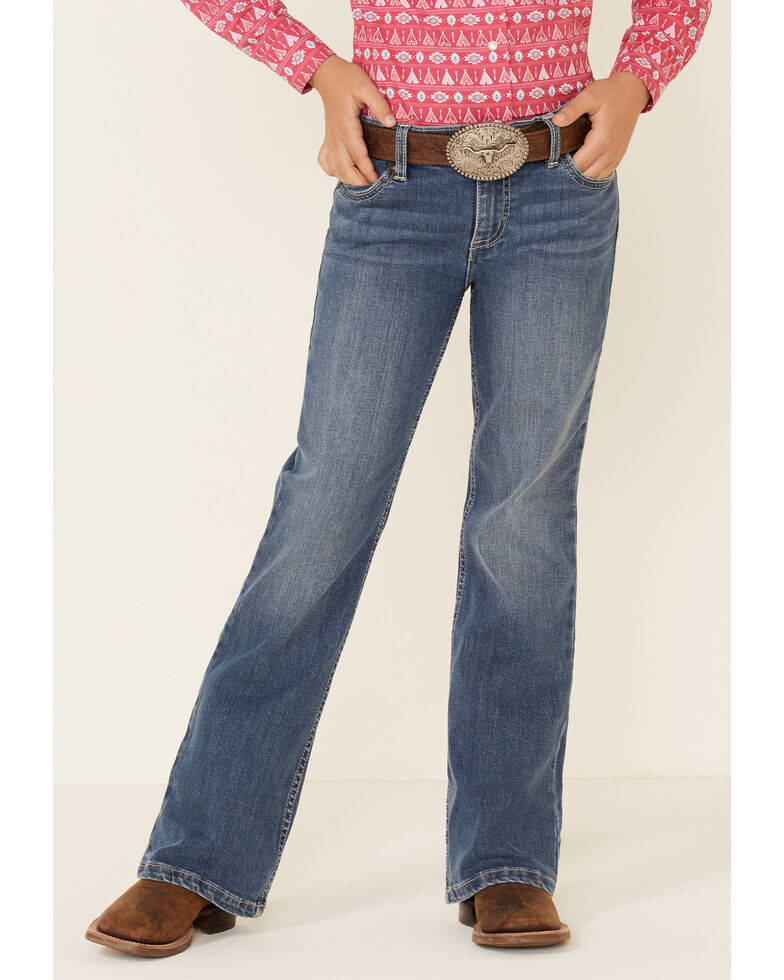 Wrangler Girls' Stacie Stretch Bootcut Jeans , Blue, hi-res
