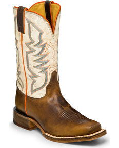 Justin Bent Rail Men's Stone Age Western Boot - Square Toe, Tan, hi-res