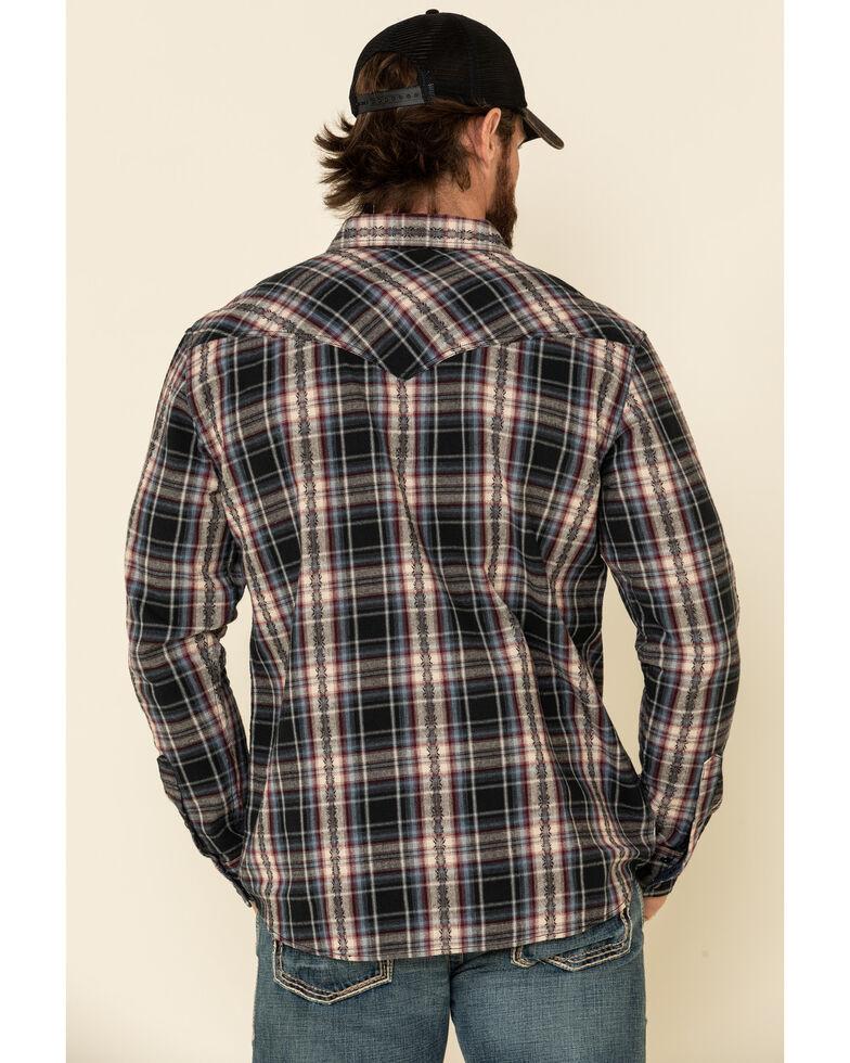 Moonshine Spirit Men's Ritual Large Dobby Plaid Long Sleeve Western Flannel Shirt , Black, hi-res