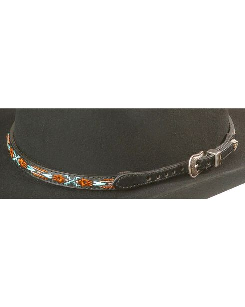 Aztec Embroidered Leather Hat Band, Black, hi-res