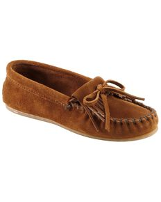 Women's Minnetonka Suede Kilty Moccasins, Brown, hi-res