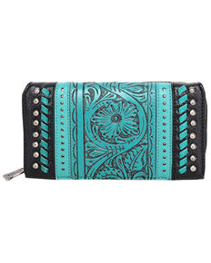 Trinity Ranch Women's Tooled Floral Wallet, Black, hi-res