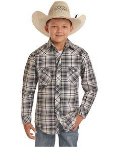 Rock & Roll Denim Boys' Grey Plaid Long Sleeve Western Shirt , Grey, hi-res