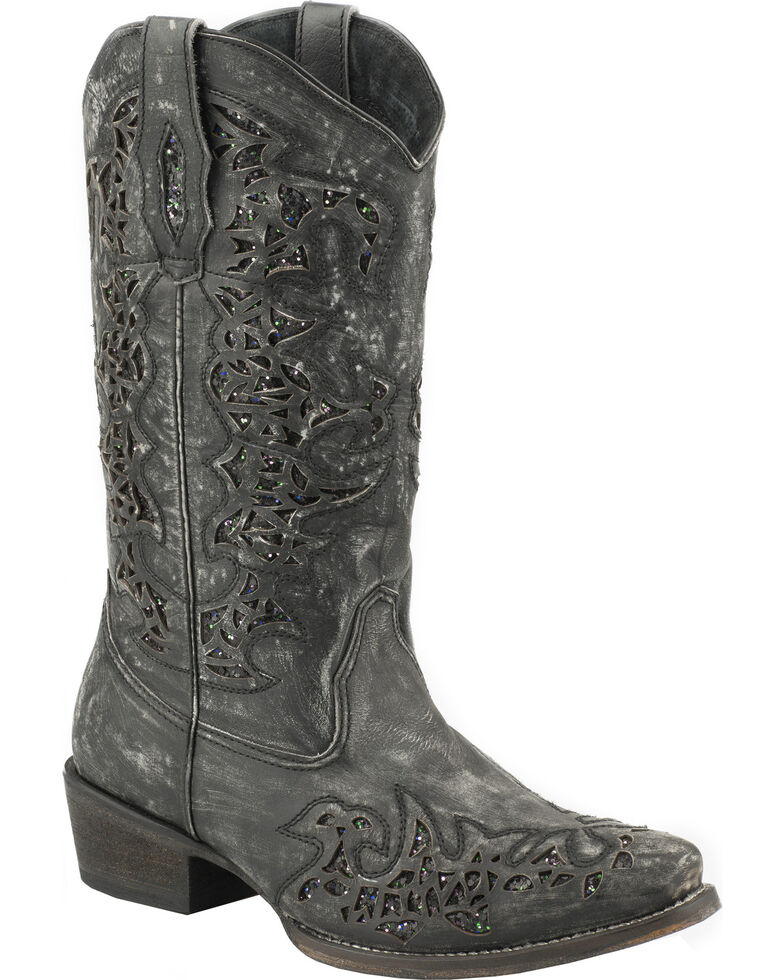 Roper Sanded Leather Black Glitter Cowgirl Boots - Snip Toe , Black, hi-res