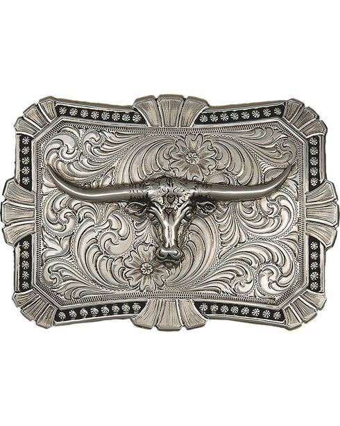 Montana Silversmiths Engraved Longhorn Buckle, Silver, hi-res