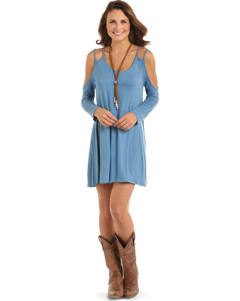 Panhandle Women's Double Strap Cold Shoulder Dress, Light Blue, hi-res