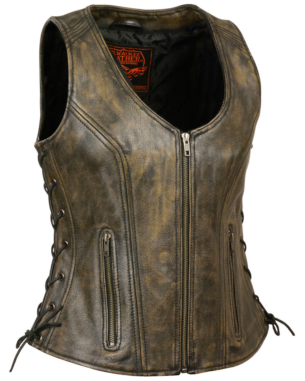 Milwaukee Leather Women's Open Neck Side Lace Zipper Front Vest - 4X, , hi-res