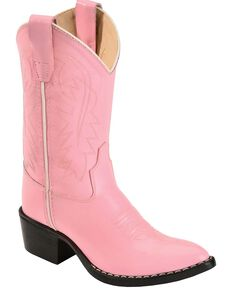Old West Girls' Pink Cowgirl Boots - Medium Toe, Pink, hi-res
