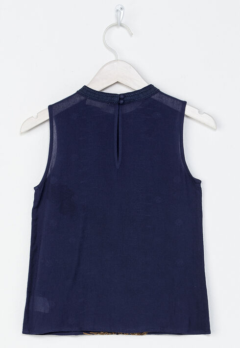 Miss Me Girls' Navy Take It Easy Embroidered Tank , Navy, hi-res