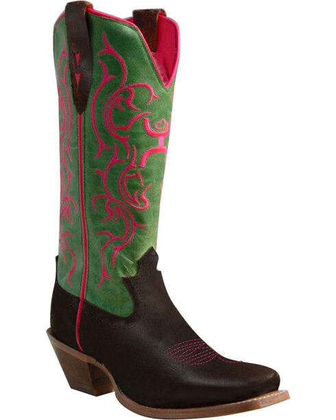Twisted X Hooey Cowgirl Boots - Square Toe, Brown, hi-res