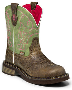 Justin Gypsy Women's Gemma Moss Gator Print Cowgirl Boots - Round Toe , Green, hi-res