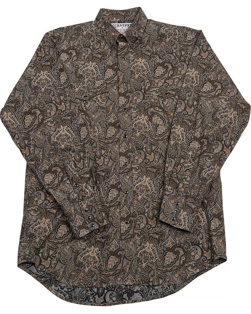 Schaefer Outfitter Men's Black Frontier Paisley Western Snap Shirt - 2XL, Black, hi-res