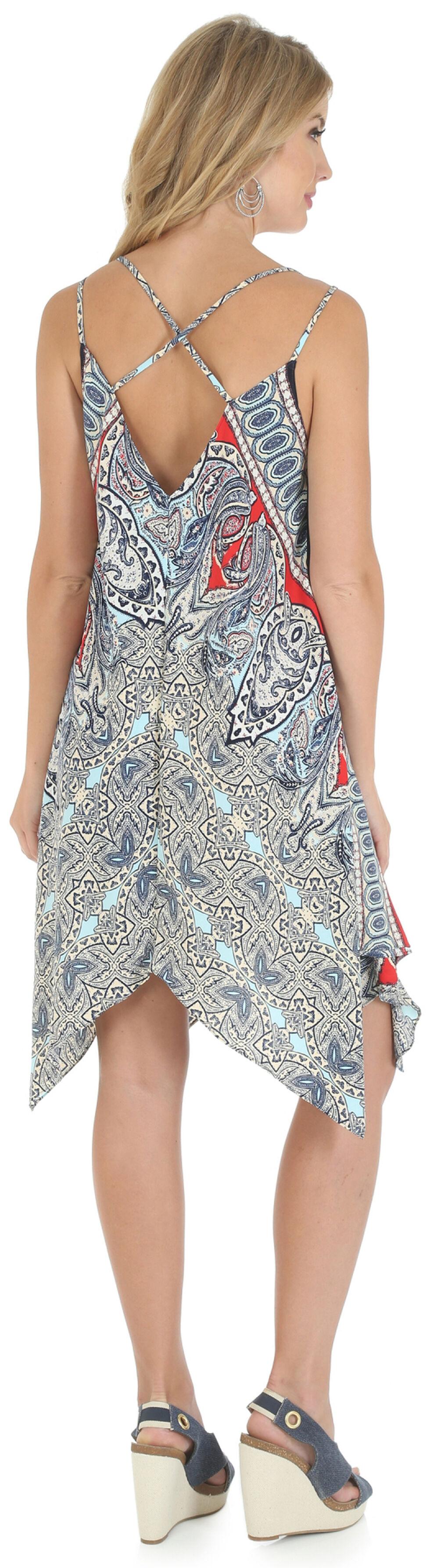 Wrangler Women's Strappy Handkerchief Draped Dress, Blue, hi-res