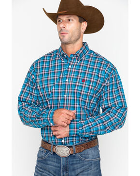Cinch Men's Blue Classic Plaid Long Sleeve Shirt  , Blue, hi-res