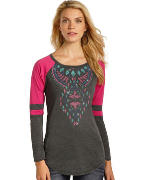 Rock & Roll Cowgirl Women's Aztec Graphic Varsity Tee, Hot Pink, hi-res