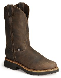 Justin J-Max Pull-On Western Work Boots - Steel Toe, Chocolate, hi-res