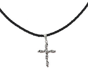Cody James Men's Twisted Rope Cross Necklace, Silver, hi-res