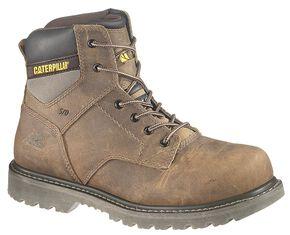 """Caterpillar 6"""" Gunnison Lace-Up Work Boots - Steel Toe, Dark Brown, hi-res"""