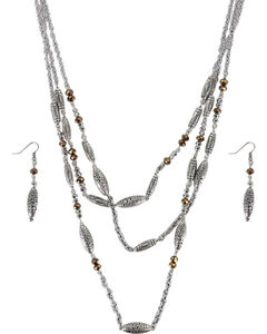 Shyanne Women's Engraved Beaded Jewelry Set, Silver, hi-res