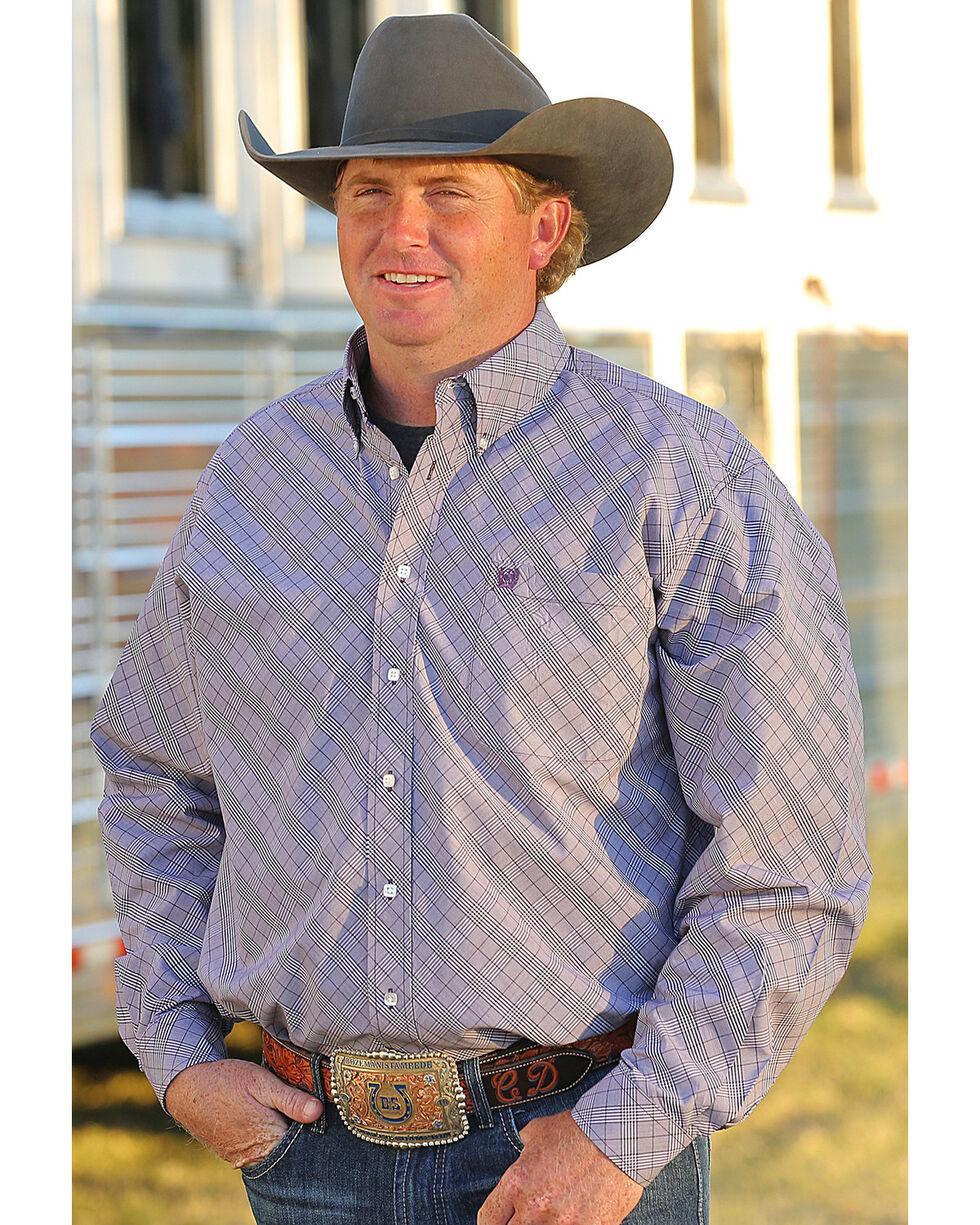 Cinch Men's Purple Plaid Western Button-Down Shirt , Purple, hi-res