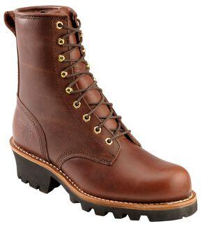"Chippewa 8"" Lace-Up Logger Boots - Steel Toe, Redwood, hi-res"