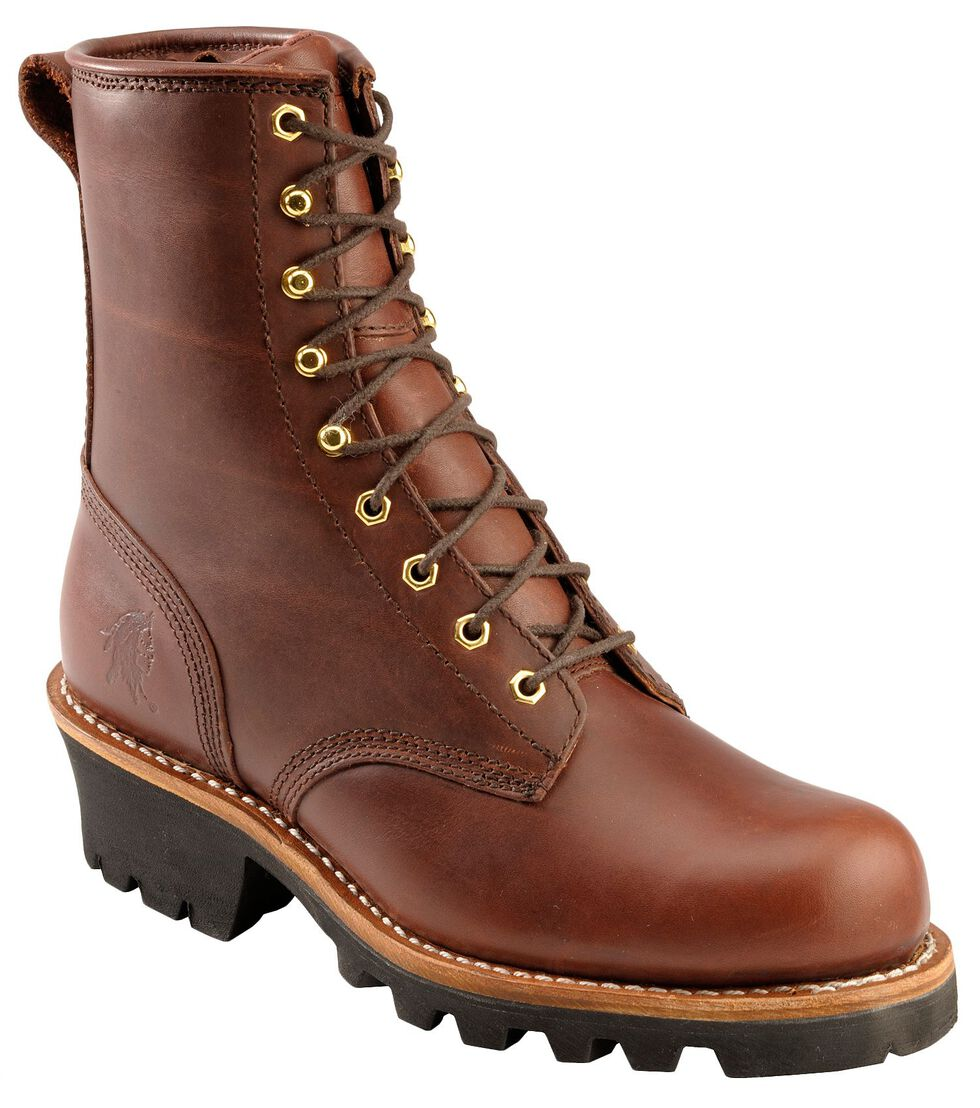 "Chippewa Women's Redwood 8"" Logger Work Boots - Round Toe, Redwood, hi-res"