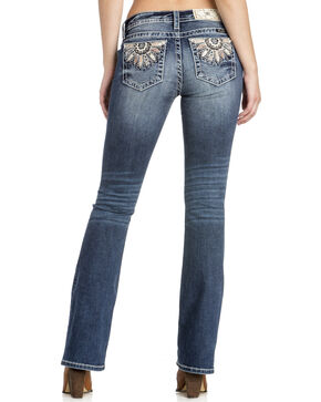 Miss Me Women's Medallion Pocket Boot Cut Jeans , Indigo, hi-res