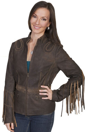 Scully Ranch Long Fringe Leather Jacket , Brown, hi-res
