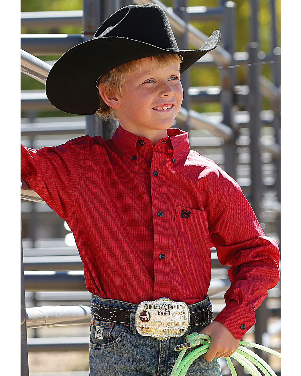 Cinch Boys' Red Button Down Western Shirt , Red, hi-res