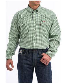 Cinch Men's FR Multi Small Plaid Long Sleeve Snap Work Shirt , Multi, hi-res